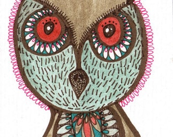 O is for owl no.2 - ACEO miniature original watercolor
