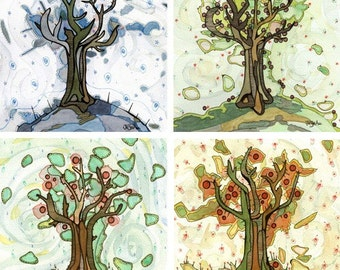 Tree of Life - Four Seasons of Trees - Set of four 12x12 fine art prints apple trees