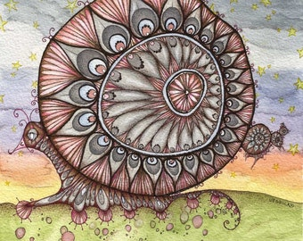 The Messenger of Whimsy - ORIGINAL watercolour, ink and coloured pencil illustration - Snail art