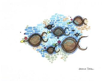 Iridescence - original school of eight fish illustration