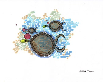 Iridescence - original school of three fish illustration
