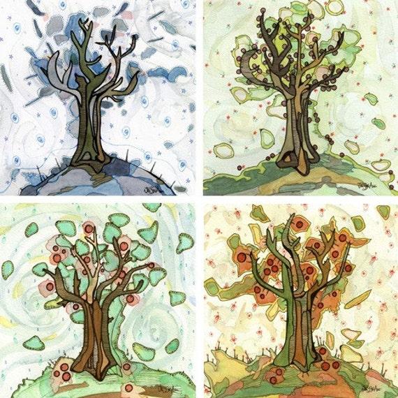 Four Seasons Art - Four Seasons of Trees - Set of four apple tree inspired 8x8 fine art prints