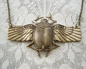Egyptian Scarab Winged Beetle Brass Ox Necklace