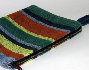 Zippered Wristlet in Multicolor Striped Cotton On Sale!