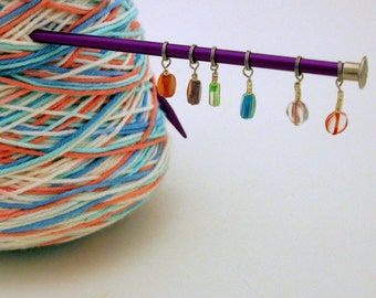 Candy Colored Stitch Markers Set of Six