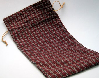 Reusable Plaid Maroon and Green Cloth Gift Bag - Large