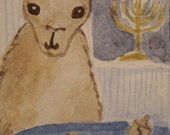 Hannukah Llama - Second Night ACEO