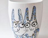 Bunny Love handpainted porcelain mug