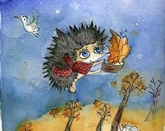 Little hedgehog made a flying ship Print