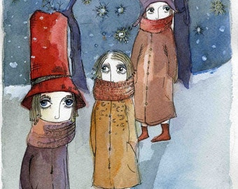 Winter Hats Art Print 8x10