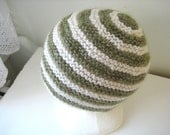 sage green and white wool hat - beaconknits