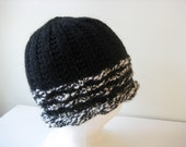 hand knit black and white wool and alpaca hat - beaconknits