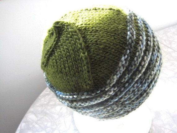 moss green hand knit wool striped hat