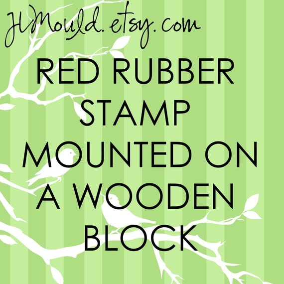 JLMould 1.5x2.5 Custom Red Rubber Stamp for Small Business Wedding DIY Project Choose With or Without Handle