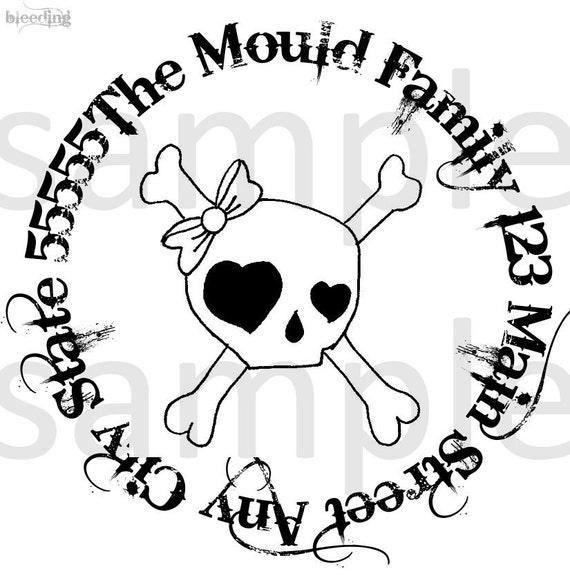 Gothic Pirate Skeleton Return Address Stamp