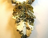 Tree Agate Carved Stone Leaf with Polkadot Jasper Chips Necklace