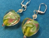 Green Lampglass Hearts Dangle Earrings for Valentines Day or Mother's Day