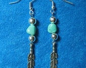 Genuine Turquoise Beads Four Silver Plated Beads and Pewter Eagle Feathers Dangle Earrings