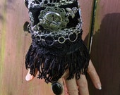 Steampunk Black and Grey Lace Black Fringe Light Hand Cuff Silvery Pewter Goddess Lock Key Wing Train Filigre Charms