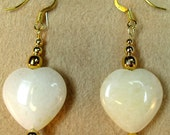 Creamy White Stone Hearts with Gold Plated Beads Dangle Earrings