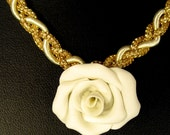 White Rose Necklace Choker Polymer Clay Handmade Rose on Lovely 17.5 inch Braided Golden Cord