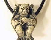 Gargoyle on Black Satin Cord Gothic Necklace Halloween Choker
