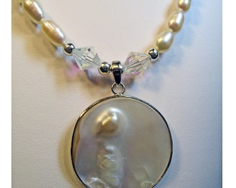 Blister Pearl Pendant Freshwater Cultured Pearls with Crystal Beads Necklace OOAK