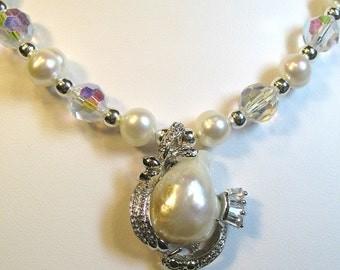 Pearls and Crystals Choker Cultured Freshwater Pearls 17in Necklace
