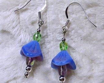 Lavender Glass Flower Dangle Earrings