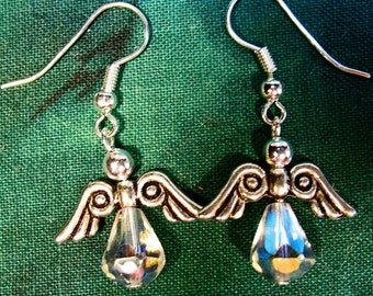 Crystal Beaded Angels Dangle Earrings