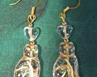 Love Cats Clear Glass Hearts Kitty  Beads Dangle Earrings