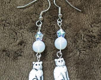 Moonlight on White Cats Dangle Earrings
