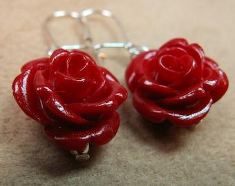 Tiny Red Resin Rose Dangle Earrings