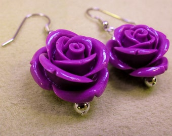 Purple Resin Roses Dangle Earrings