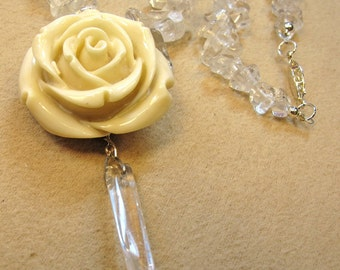 White Resin Rose with Quartz Crystal and Quartz Chips Necklace Inspired by symbols in the TV Show Beauty and the Beast