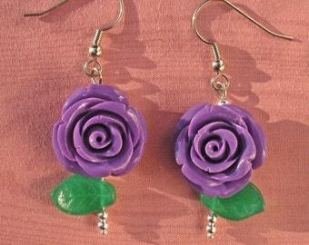 Purple Resin Roses Dangle Earrings