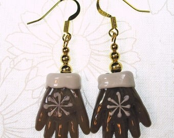 Brown and White Lampglass Winter Gloves Dangle Earrings