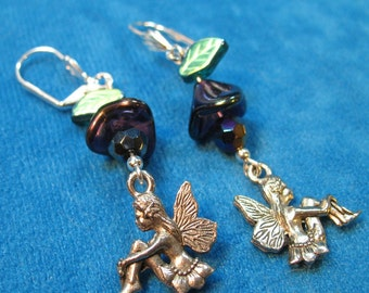 Pewter FAIRY Charms with Purple Glass Flowers, Green Leaves and Crystal Beads Dangle Earrings