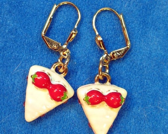 Cherry Pie Red and White Enameled Charms Dangle Earrings