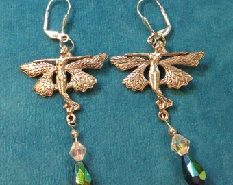 Pewter Fairies Dangle Earrings with Sparkling Crystals
