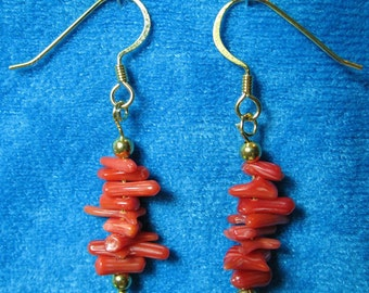 Red Coral Dangle Earrings with Gold Plated Beads