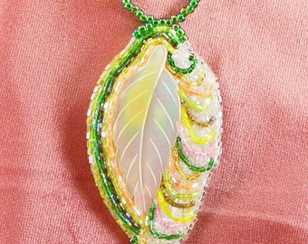 Handcrafted Bead Embroidered Carved Shell Leaf Necklace Green, White, Yellow