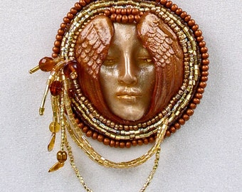 Bead Embroidered Golden Angel or Goddess Necklace Handcrafted with a Polymer Clay Woman's Face