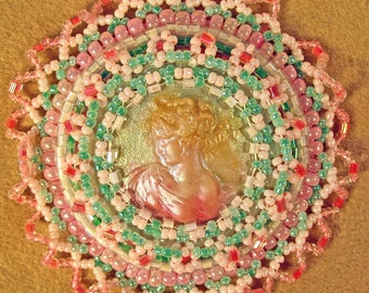 Lovely Polymer Clay Lady Bead Embroiderd Brooch Pink Green Cream Perfect Mother's Day Gift