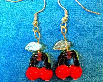 Red Glass Cherries Dangle Earrings