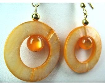 Orange Shell Doughnut Dangle Earrings