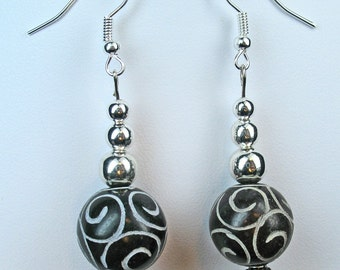 Dark Brown and Silver Beaded Spiral Design Dangle Earrings