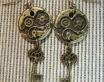 Steampunk Key to Time Brass Charms Dangle Earrings Perfect for a Fantasy or Sci-fi Lover