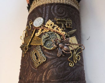 Steampunk Brown Layered Right Hand Cuff Brass Lock Key Dragonfly Wing Train Filigre Charms Size Large