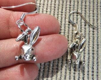 Pewter Bunny Rabbit Dangle Earrings